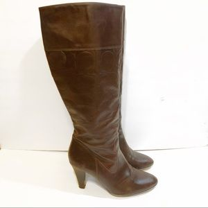 Coach Brown Leather Heeled Monogram Boots
